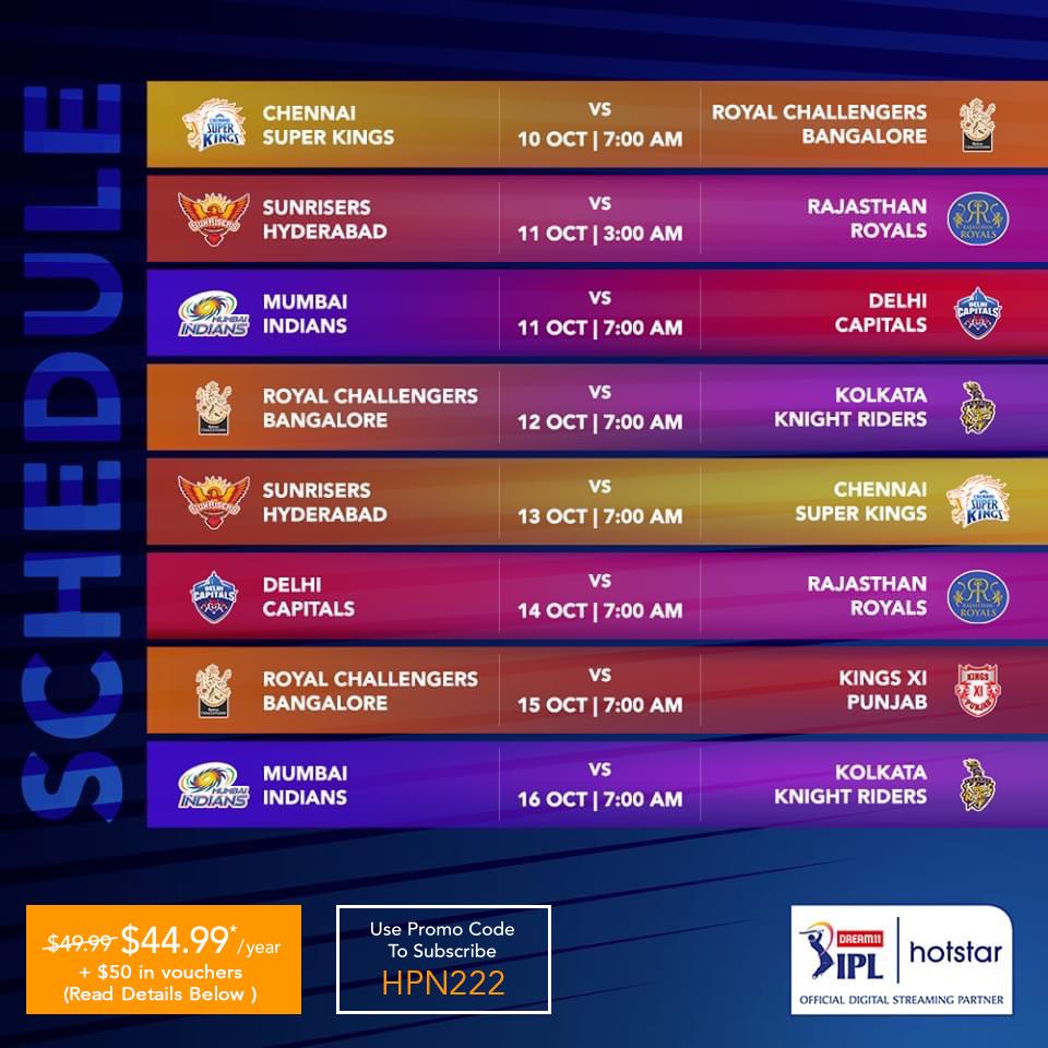 HOTSTAR IPL 2020 SCHEDULE